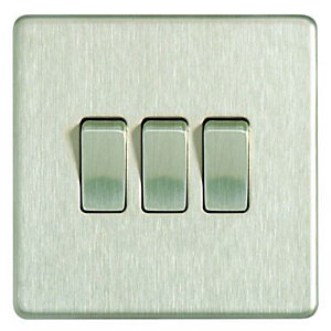 Wickes 10A Light Switch 3 Gang 2 Way Brushed Steel Screwless Flat Plate