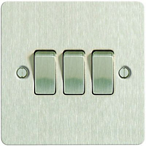 Wickes 10A Light Switch 3 Gang 2 Way Brushed Steel Ultra Flat Plate