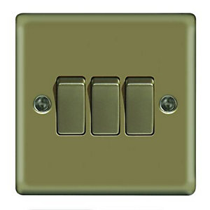 Wickes 10A Light Switch 3 Gang 2 Way Pearl Nickel Raised Plate