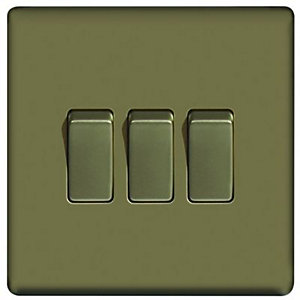 Wickes 10A Light Switch 3 Gang 2 Way Pearl Nickel Screwless Flat Plate