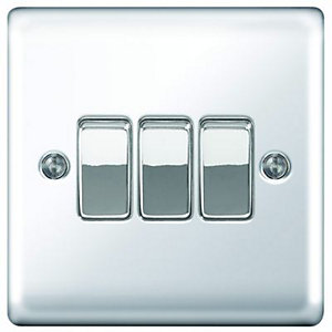 Wickes 10A Light Switch 3 Gang 2 Way Polished Chrome Raised Plate