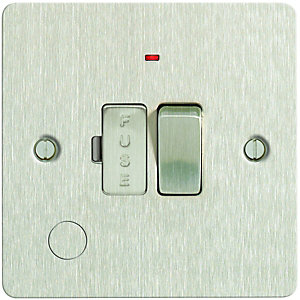 Wickes 13A Switched Fused Socket + LED Screwed Flat Plate Brushed Steel