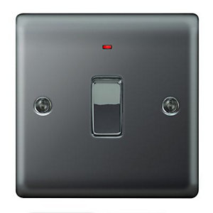 Wickes 20A Light Switch + LED 1 Gang Black Nickel Raised Plate