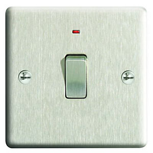 Wickes 20A Light Switch + LED 1 Gang Brushed Steel Raised Plate