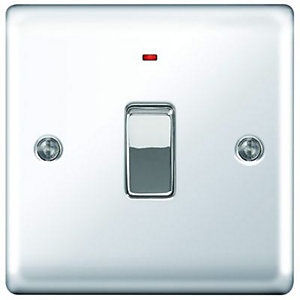Wickes 20A Light Switch + LED 1 Gang Polished Chrome Raised Plate