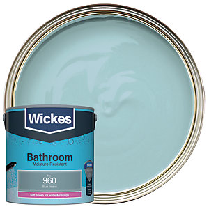 Wickes Bathroom Soft Sheen Emulsion Paint - No. 960 Blue Jeans 2.5L