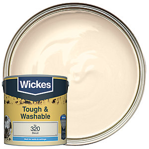 Wickes Biscuit - No. 320Tough & Washable Matt Emulsion Paint - 2.5L