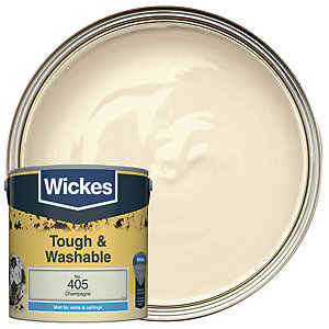 Wickes Champagne - No. 405 Tough & Washable Matt Emulsion Paint - 2.5L