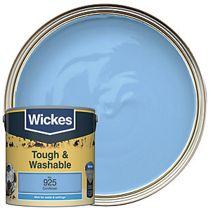 Wickes Cornflower - No. 925 Tough & Washable Matt Emulsion Paint - 2.5L