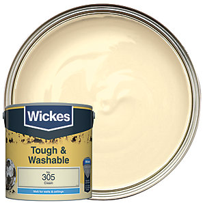 Wickes Cream - No. 305 Tough & Washable Matt Emulsion Paint - 2.5L