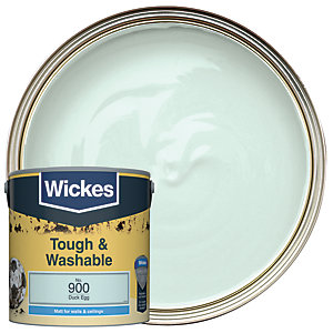 Wickes Duck Egg - No. 900 Tough & Washable Matt Emulsion Paint - 2.5L