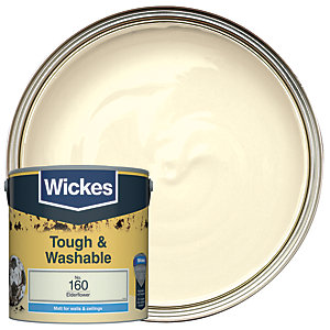 Wickes Elderflower - No. 160 Tough & Washable Matt Emulsion Paint - 2.5L