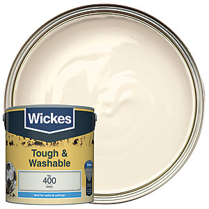 Wickes Ivory - No. 400 Tough & Washable Matt Emulsion Paint - 2.5L