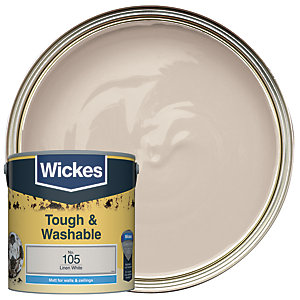 Wickes Linen White - No. 105 Tough & Washable Matt Emulsion Paint - 2.5L