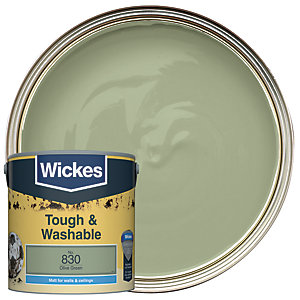Wickes Olive Green - No. 830 Tough & Washable Matt Emulsion Paint - 2.5L