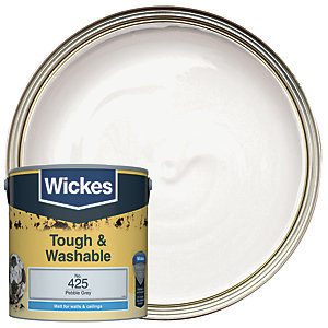 Wickes Pebble Grey - No. 425 Tough & Washable Matt Emulsion Paint - 2.5L