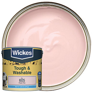 Wickes Poetic Pink - No. 605 Tough & Washable Matt Emulsion Paint - 2.5L