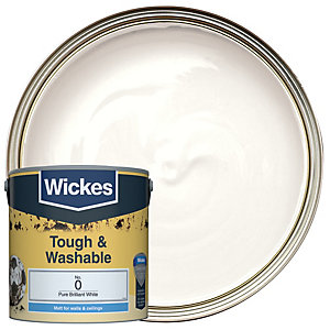 Wickes Pure Brilliant White - No. 0 Tough & Washable Matt Emulsion Paint - 2.5L