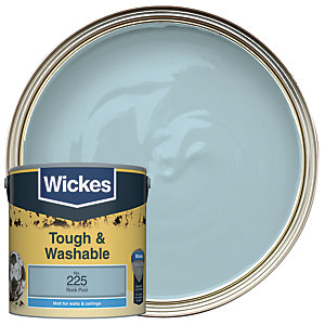 Wickes Rock Pool - No. 225 Tough & Washable Matt Emulsion Paint - 2.5L