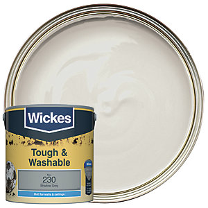 Wickes Shadow Grey - No. 230 Tough & Washable Matt Emulsion Paint - 2.5L