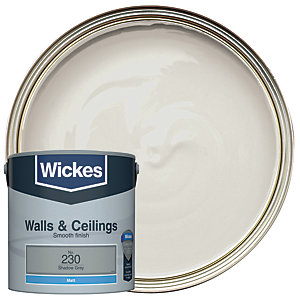 Wickes Shadow Grey - No. 230 Vinyl Matt Emulsion Paint - 2.5L