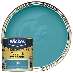 Wickes Teal - No. 940 Tough & Washable Matt Emulsion Paint - 2.5L