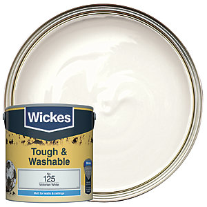 Wickes Victorian White - No. 125 Tough & Washable Matt Emulsion Paint - 2.5L