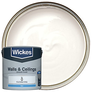 Wickes Vinyl Matt Emulsion Paint - No. 0 Pure Brilliant White 2.5L