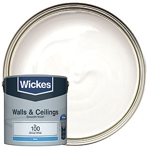 Wickes Vinyl Matt Emulsion Paint - No. 100 Almost White 2.5L