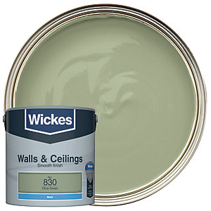 Wickes Vinyl Matt Emulsion Paint - No. 830 Olive Green 2.5L