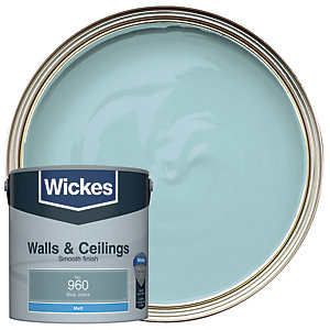 Wickes Vinyl Matt Emulsion Paint - No. 960 Blue Jeans 2.5L