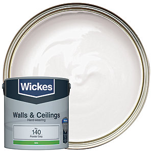Wickes Vinyl Silk Emulsion Paint - No. 140 Powder Grey 2.5L