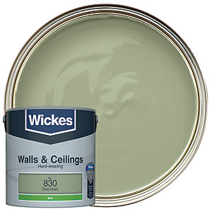 Wickes Vinyl Silk Emulsion Paint - No. 830 Olive Green 2.5L