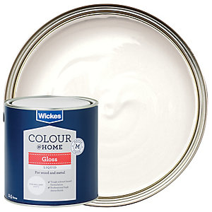 Wickes Colour Home Liquid Gloss Paint Pure Brilliant White 2 5l
