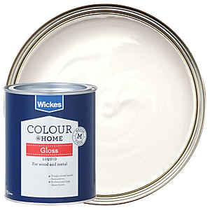 Wickes Colour @ Home Liquid Gloss Paint - Pure Brilliant White 750ml