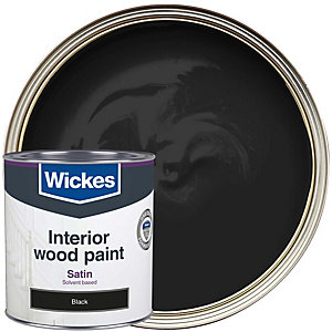 Wickes One Coat Satinwood Paint - Black 750ml