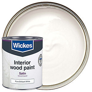 Wickes One Coat Satinwood Pure Brilliant White 750ml