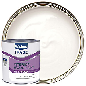Wickes Satinwood Paint - Pure Brilliant White 1L