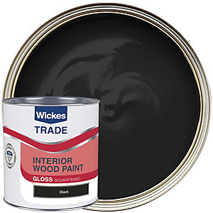 Wickes Trade High Gloss Paint - Black 1L