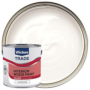 Wickes Trade Non-Drip Gloss Paint - Pure Brilliant White 2.5L