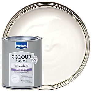Wickes Truewhite Satinwood Paint - Pure Brilliant White 750ml
