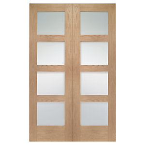 Wickes Marlow Fully Glazed Oak 4 Panel Rebated Internal Door Pair - 1981mm x 1168mm