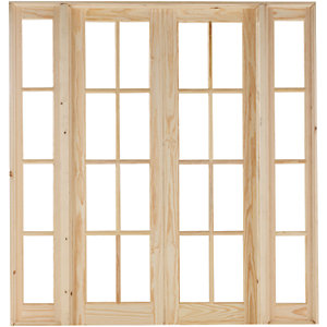 Wickes Newland Fully Glazed Pine 8 Lite Internal French Doors with Demi Panel - 2007mm x 1896mm