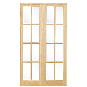 Wickes Newland Fully Glazed Pine 8 Lite Internal French Doors 1981mm X 1168mm