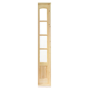 Wickes Newland Glazed Pine 4 Lite Internal French Door Demi Side Panel - 1981mm x 292mm