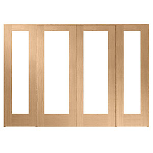 Wickes Oxford Fully Glazed Oak Internal Room Divider 2 x 762mm Doors with 2 Side Panels - 2017mm x 2840mm