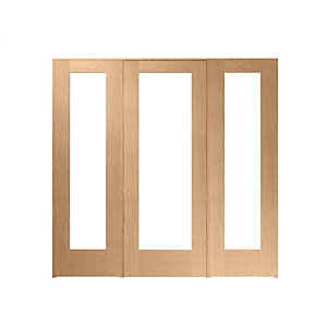 Wickes Oxford Fully Glazed Oak Internal Room Divider 762mm Door with 2 Side Panels - 2017mm x 2078mm