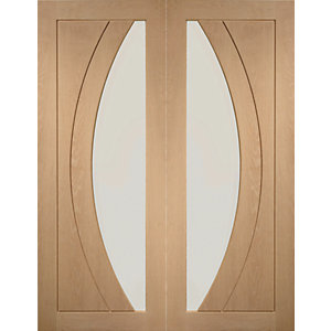 XL Joinery Salerno Glazed Oak Patterned Internal Door Pair - 1981mm x 762mm
