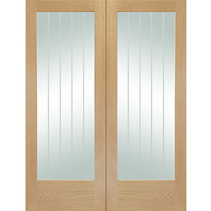 Xl Joinery Suffolk Fully Glazed Oak 1 Panel Internal Door Pair 1981mm X 610mm