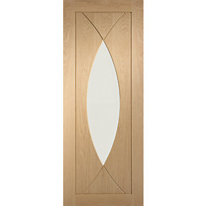 new product 071c1 f9a14 XL Joinery Pesaro Glazed Oak Patterned Pre Finished Internal Door- 1981mm